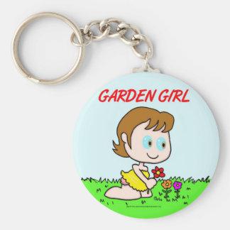 Chica del jardín llavero redondo tipo pin