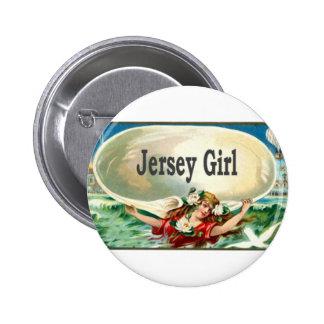 Chica del jersey de la orilla del jersey del vinta pin redondo de 2 pulgadas