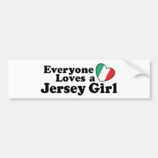 Chica del jersey pegatina de parachoque