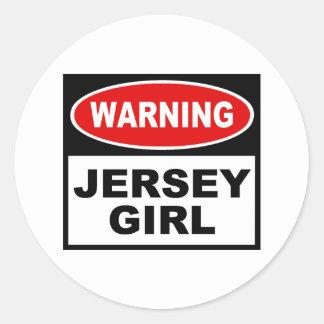 Chica del jersey pegatina redonda
