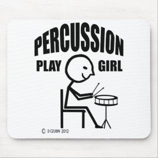 Chica del juego de la percusión alfombrillas de ratón