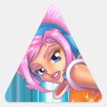 Chica del juego del animado de Ulala Calcomanías Triangulos Personalizadas