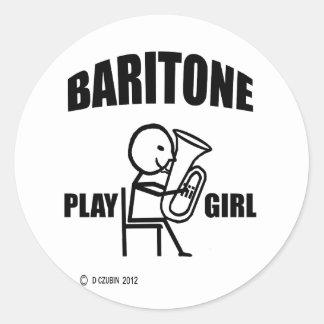 Chica del juego del barítono pegatina redonda