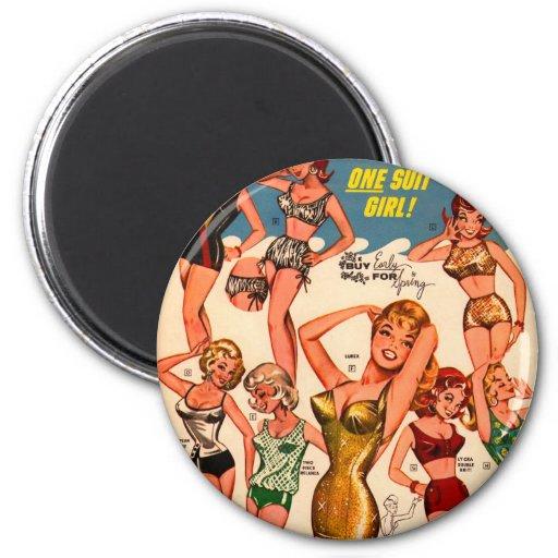 Chica del juego del Pin-Para arriba uno del anunci Imán Redondo 5 Cm