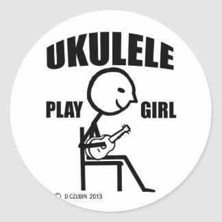 Chica del juego del Ukulele Pegatina Redonda