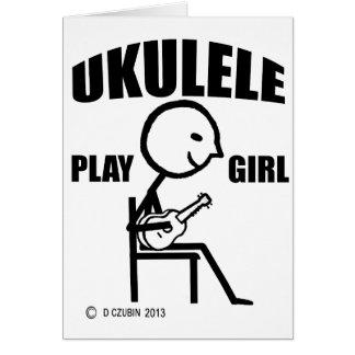 Chica del juego del Ukulele Tarjeta De Felicitación