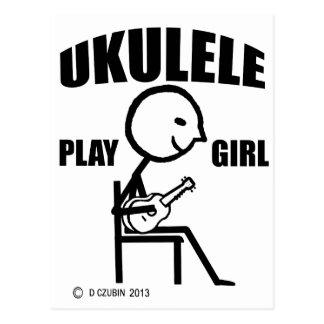 Chica del juego del Ukulele Tarjeta Postal