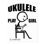 Chica del juego del Ukulele Tarjetas Postales