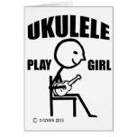 Chica del juego del Ukulele Tarjeton