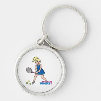 Chica del jugador de tenis - luz/Blonde Llaveros