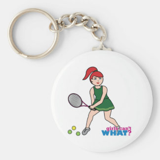 Chica del jugador de tenis - luz/rojo llavero
