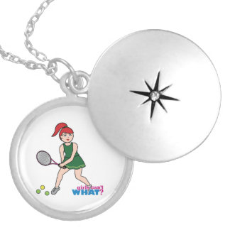 Chica del jugador de tenis - luz/rojo pendiente