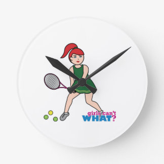 Chica del jugador de tenis - luz/rojo relojes de pared