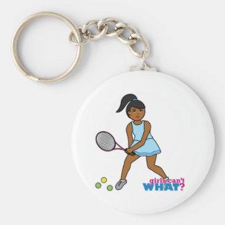 Chica del jugador de tenis - oscuridad llaveros personalizados
