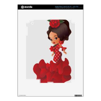 Chica del kawaii del chibi del dibujo animado del pegatina skin para iPad 3