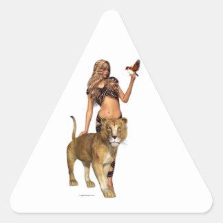 Chica del león pegatina triangular