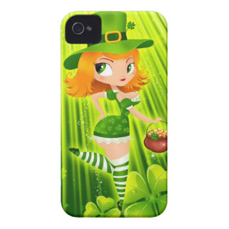 Chica del Leprechaun con oro y tréboles afortunado Case-Mate iPhone 4 Funda