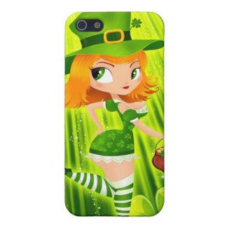 Chica del Leprechaun con oro y tréboles afortunado iPhone 5 Cobertura