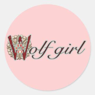 Chica del lobo pegatina redonda