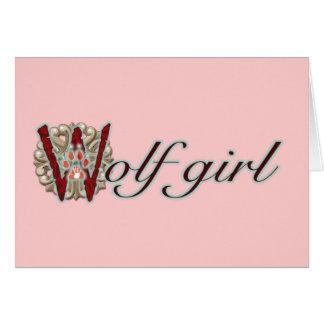 Chica del lobo tarjeta de felicitación