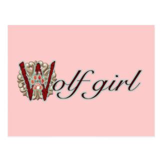 Chica del lobo tarjetas postales