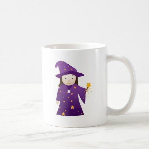 chica del mago del dibujo animado tazas de café