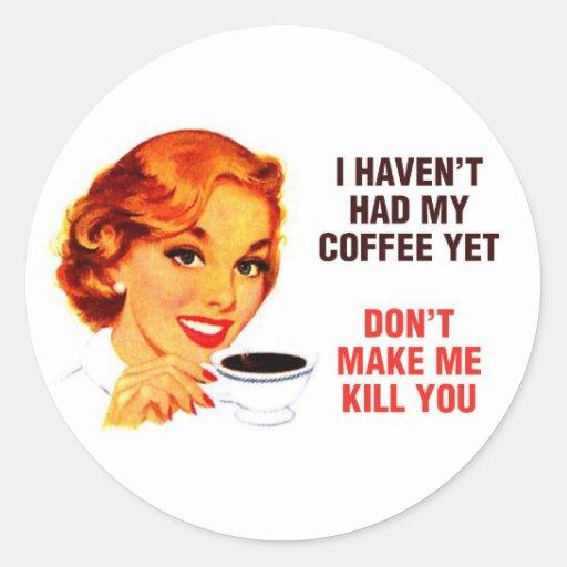 Chica del malo del café del asesino etiquetas redondas