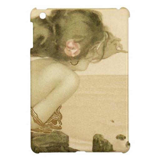 Chica del mar del vintage con el mini caso del iPa iPad Mini Protector