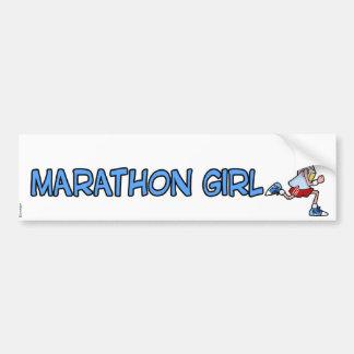 chica del maratón pegatina para auto