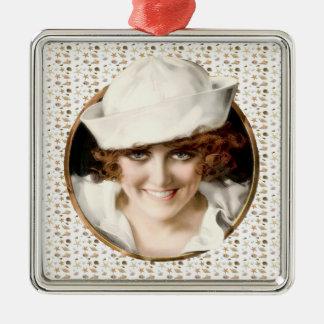 chica del marinero de los años 20 adorno navideño cuadrado de metal