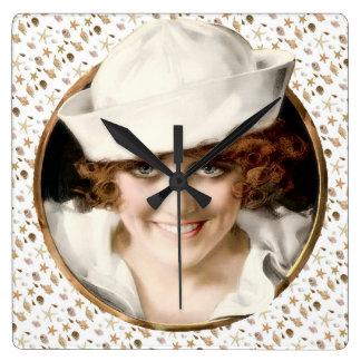 chica del marinero de los años 20 reloj cuadrado