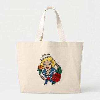 Chica del marinero del vintage con arte color de r bolsa tela grande