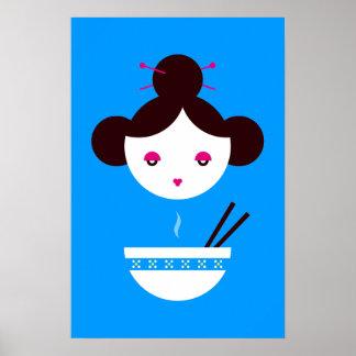 Chica del Miso (fondo adaptable!) Póster