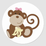 Chica del mono de Melanie Pegatina Redonda