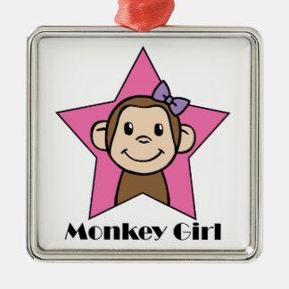 Chica del mono ornamento para arbol de navidad