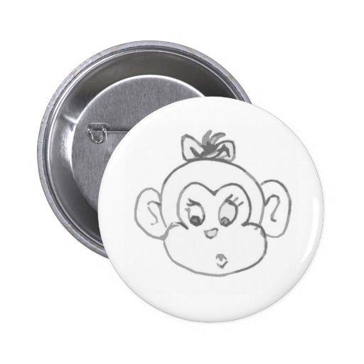 Chica del mono pin redondo de 2 pulgadas