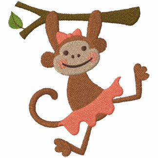 Chica del mono sudadera bordada con capucha