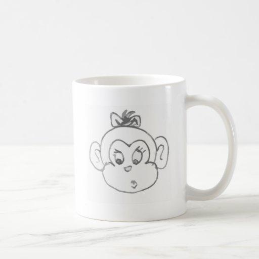 Chica del mono taza básica blanca