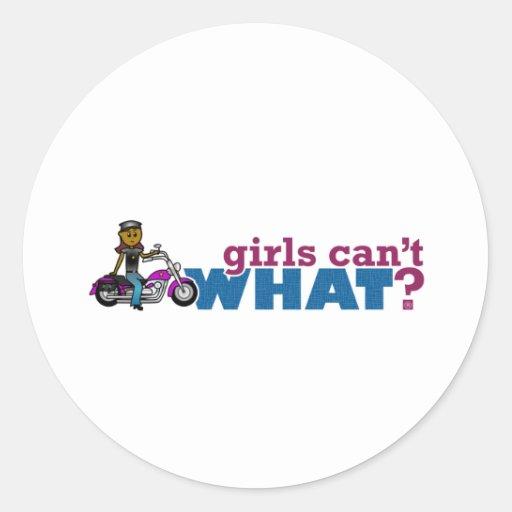 Chica del motorista etiquetas redondas