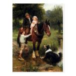 chica del muchacho del caballo del perro del colli postales