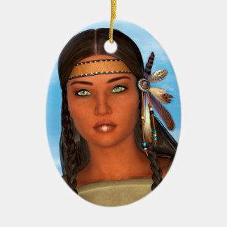 Chica del nativo americano adorno navideño ovalado de cerámica