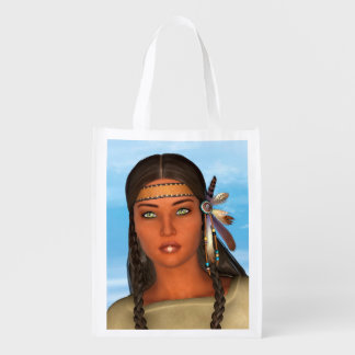 Chica del nativo americano bolsa reutilizable