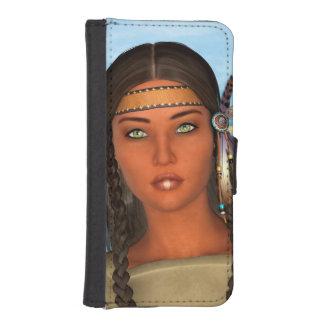 Chica del nativo americano funda billetera para teléfono