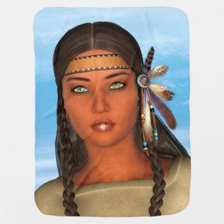 Chica del nativo americano mantas de bebé