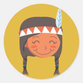 Chica del nativo americano pegatina redonda