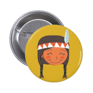 Chica del nativo americano pin redondo 5 cm