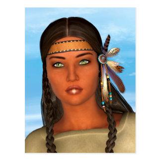 Chica del nativo americano postal