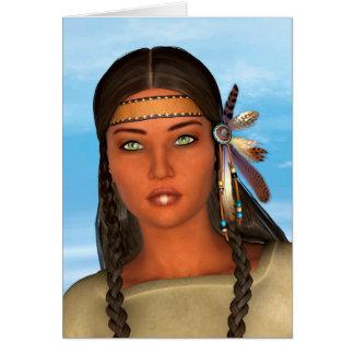 Chica del nativo americano tarjeta de felicitación