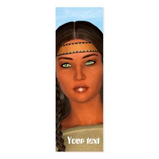 Chica del nativo americano tarjetas de visita mini