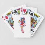 Chica del navidad barajas de cartas